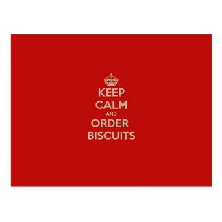 Keep  Calm & Order Biscuits Postcard