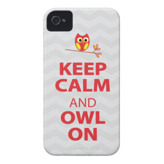 Keep Calm, Owl On Red Yellow gray chevron iPhone 4 iPhone 4 Covers