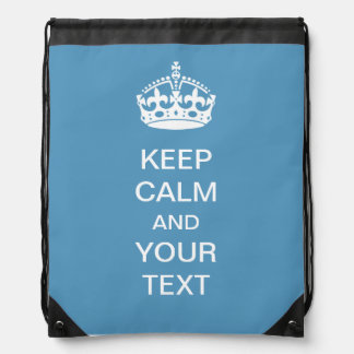 Keep Calm Personalized Blue Drawstring Backpack