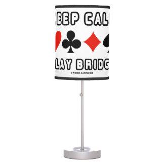 Keep Calm Play Bridge Advice Four Card Suits Humor Table Lamp