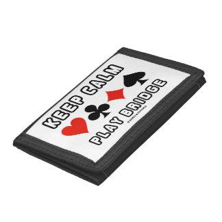 Keep Calm Play Bridge Advice Four Card Suits Humor Tri-fold Wallet