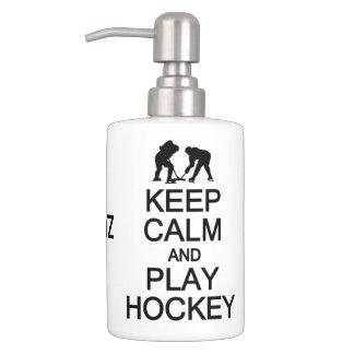 Keep Calm & Play Hockey custom bathroom set