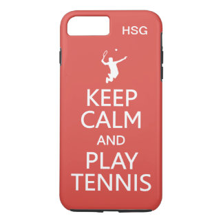 Keep Calm & Play Tennis custom monogram & color iPhone 7 Plus Case