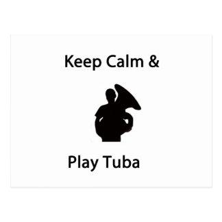 Keep calm & play tuba postcard