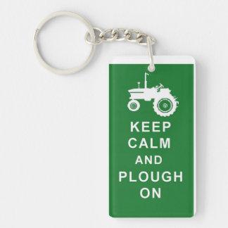 KEEP CALM PLOUGH ON TRACTOR KEYRING FARM BIRTHDAY