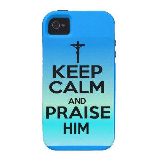 KEEP CALM PRAISE HIM Case-Mate iPhone 4 CASES
