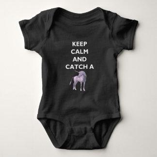 Keep Calm & Purple Unicorn Baby Dark Bodysuit