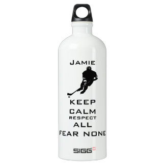 KEEP CALM RESPECT ALL FEAR NONE Hockey Water Bottle