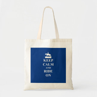 Keep calm & ride on (blue) tote bag