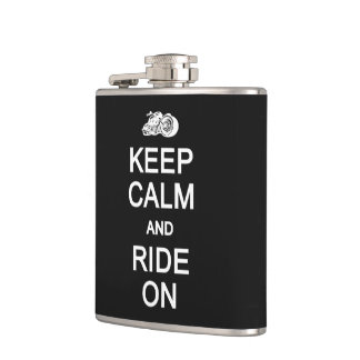 Keep Calm & Ride On custom flask