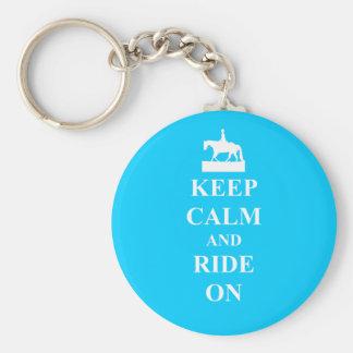 Keep calm & ride on (light blue) basic round button keychain