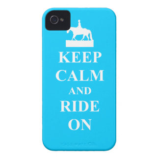 Keep calm & ride on (light blue) iPhone 4 case