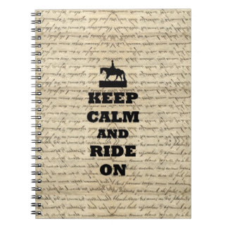 Keep calm & ride on spiral note books