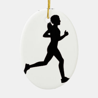 Keep calm & run on ceramic oval ornament