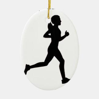 Keep calm & run on ceramic oval ornament
