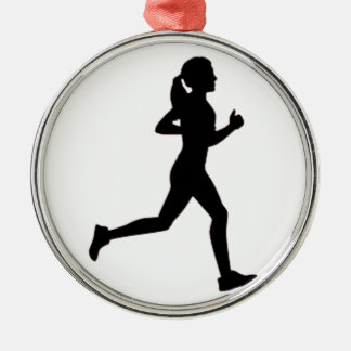 Keep calm & run on Silver-Colored round ornament