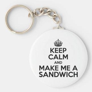 Keep Calm Sandwich Basic Round Button Keychain