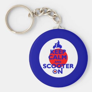 Keep Calm Scooter on Mod target Basic Round Button Keychain