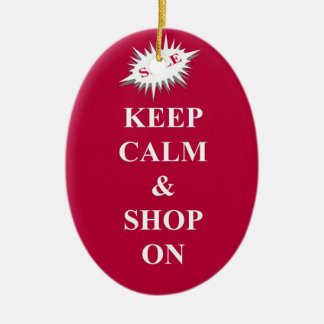 keep calm & shop on ceramic ornament