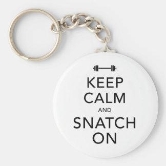 Keep Calm Snatch On Black Basic Round Button Keychain