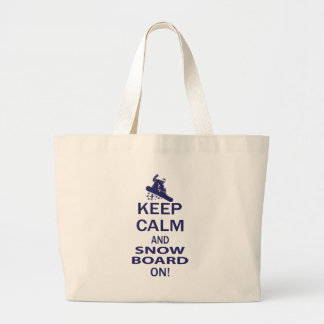 KEEP-CALM-SNOW-BOARD ON LARGE TOTE BAG