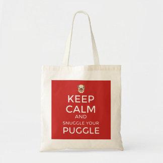 Keep Calm & Snuggle Your Puggle TOTE BAG Customize