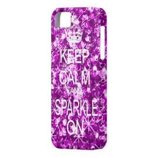 Keep Calm Sparkle On purple iphone 5 barely case