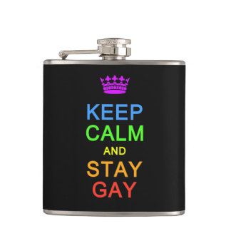Keep Calm & Stay Gay custom flask