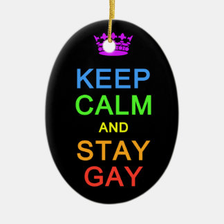Keep Calm & Stay Gay ornament, customize Ceramic Oval Ornament