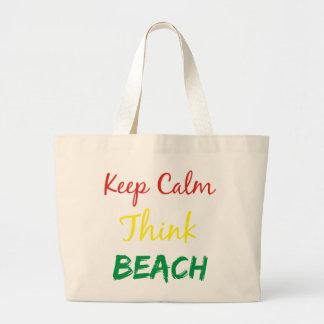 Keep Calm Think Beach Bag
