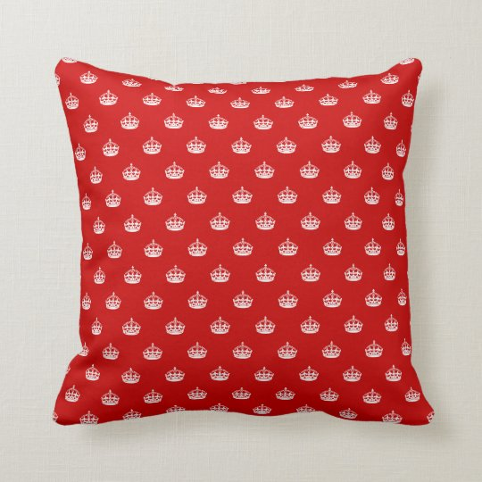 Keep calm throw pillow with crown pattern