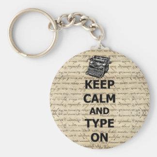 Keep calm & type on keychain