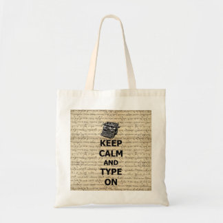 Keep calm & type on tote bag