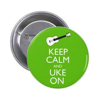 Keep Calm Uke On (Shamrock) 2 Inch Round Button