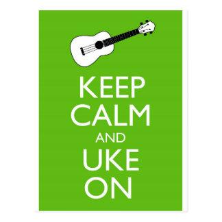Keep Calm Uke On (Shamrock) Postcard