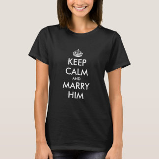 Keep calm wedding engagement t shirt for women.