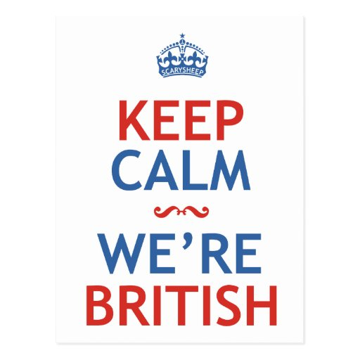 Keep Calm We're British Post Cards