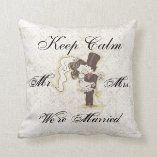 Keep Calm We're Married Decorative Pillow