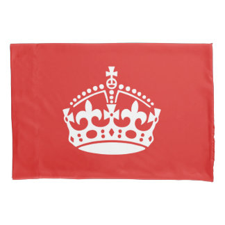 Keep Calm White Crown On Red Background Pillowcase