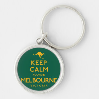 Keep Calm You're in Melbourne! Silver-Colored Round Keychain