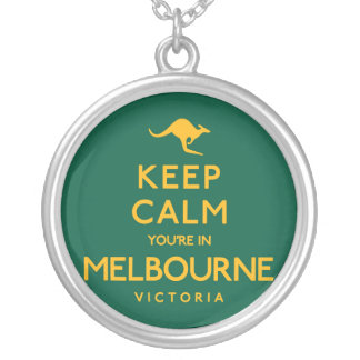 Keep Calm You're in Melbourne! Silver Plated Necklace