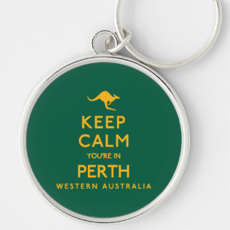 Keep Calm You're in Perth! Silver-Colored Round Keychain