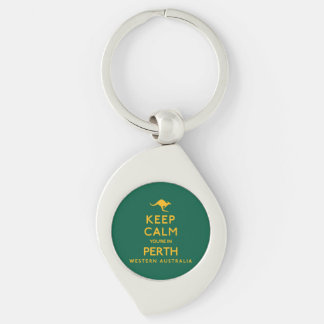 Keep Calm You're in Perth! Silver-Colored Swirl Keychain