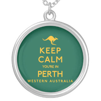 Keep Calm You're in Perth! Silver Plated Necklace