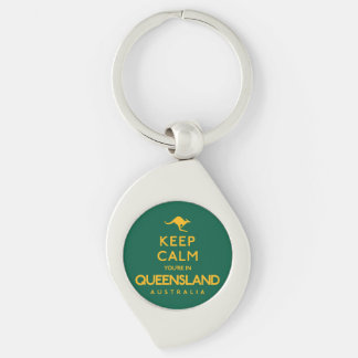 Keep Calm You're in Queensland! Silver-Colored Swirl Keychain