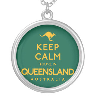 Keep Calm You're in Queensland! Silver Plated Necklace
