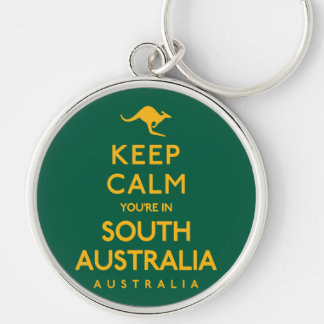 Keep Calm You're in South Australia! Silver-Colored Round Keychain