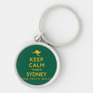 Keep Calm You're in Sydney! Silver-Colored Round Keychain