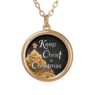 Keep Christ in Christmas Necklace w Tree