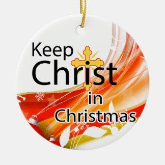 Keep Christ in Christmas, Swirl Ceramic Ornament